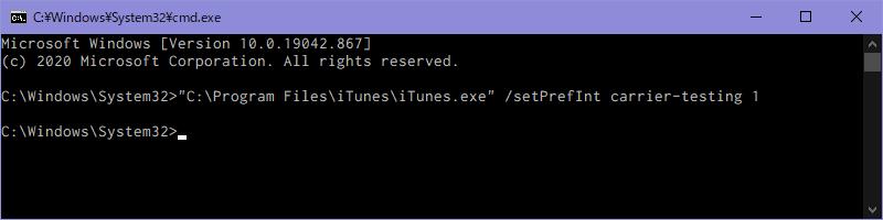 WindowsのコマンドプロンプトでiTunesのキャリアテストモードを有効化