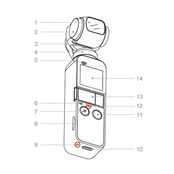 「Osmo Pocket」の内蔵マイク位置