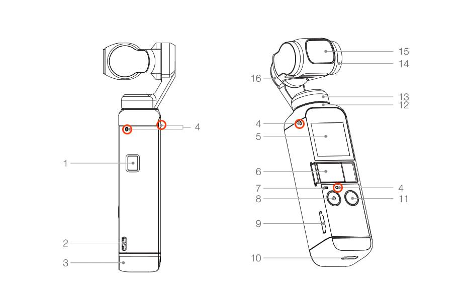 「DJI Pocket 2」の内蔵マイク位置