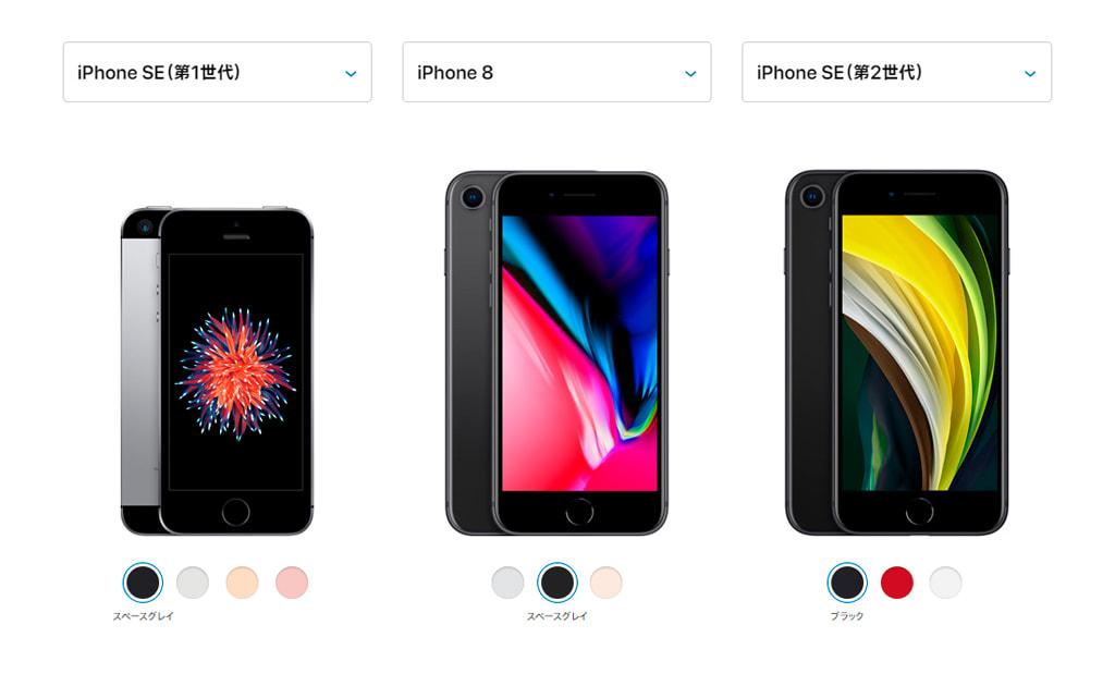 iPhone SE (第1世代) と iPhone 8 と iPhone SE (第2世代)