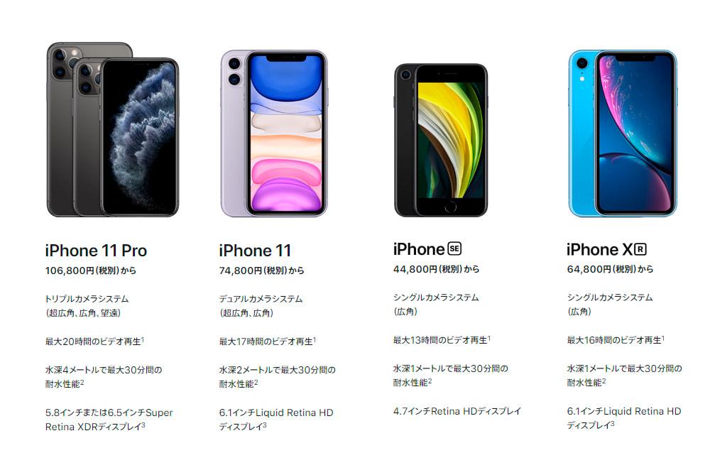 iPhone SE (第2世代) と現行モデル一覧
