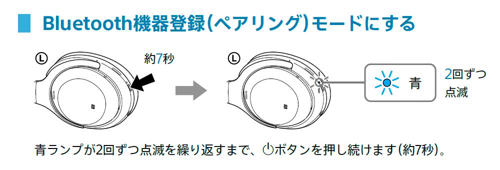 「SONY WH-1000XM3」Bluetooth機器登録(ペアリング)モード