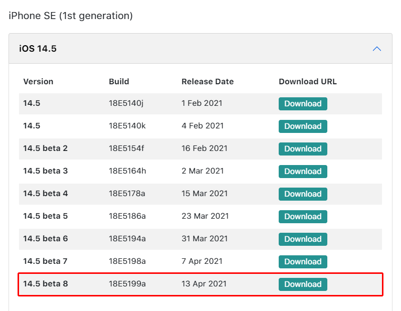 iOS 14.5 beta 8 のIPSWをipsw.devからダウンロードする