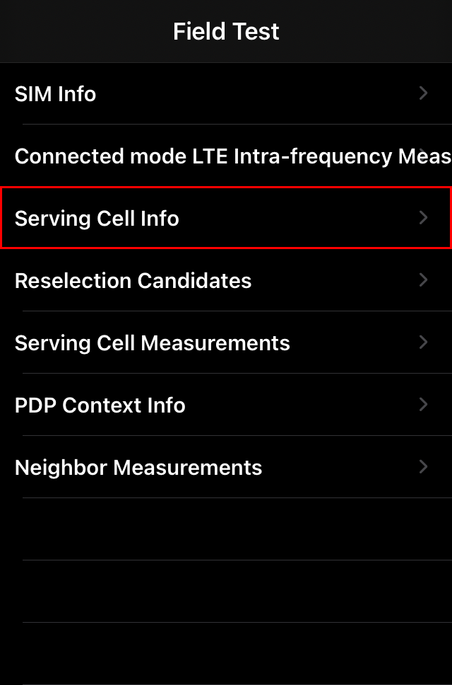 Field Test で Serving Cell Info をタップ